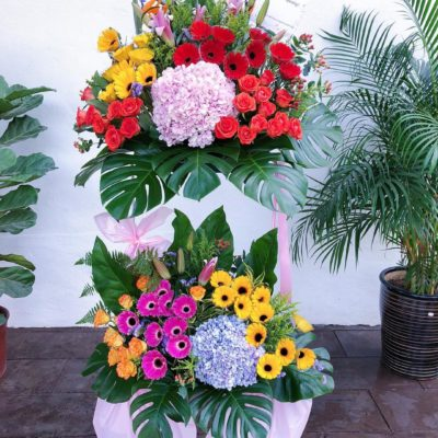 double decker grand opening flower stand